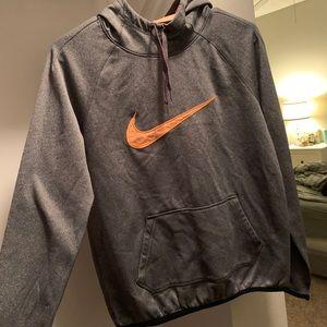 Nike Women's Dri Fit Orange and Grey hoodie